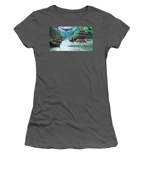 Temple On The Yangzte Women's T-Shirt (Athletic Fit)