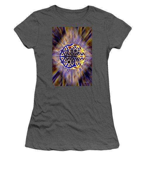 Women's T-Shirt (Junior Cut) featuring the drawing Tetra Balance Crystal by Derek Gedney