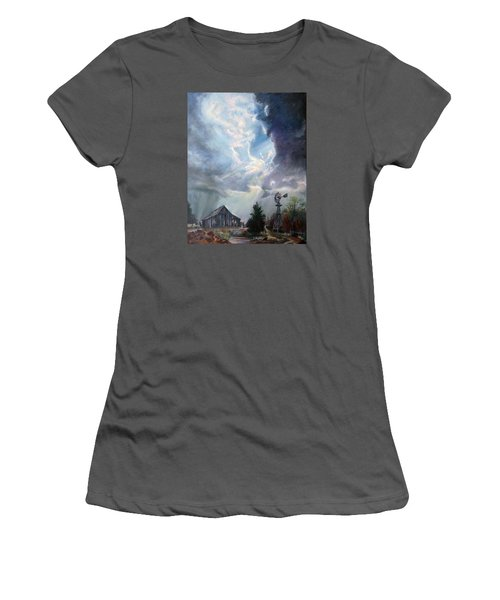 Women's T-Shirt (Junior Cut) featuring the painting Texas Thunderstorm by Karen Kennedy Chatham