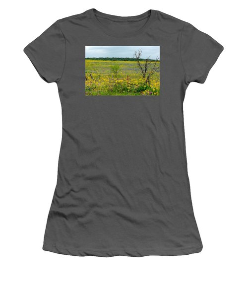 Texas Wildflowers And Mesquite Tree Women's T-Shirt (Athletic Fit)