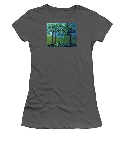 Women's T-Shirt (Junior Cut) featuring the painting Texture Trees by Eloise Schneider