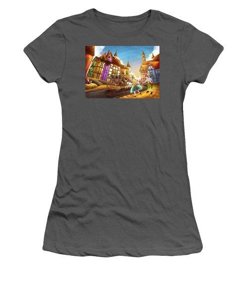 The Bavarian Village Women's T-Shirt (Junior Cut) by Reynold Jay