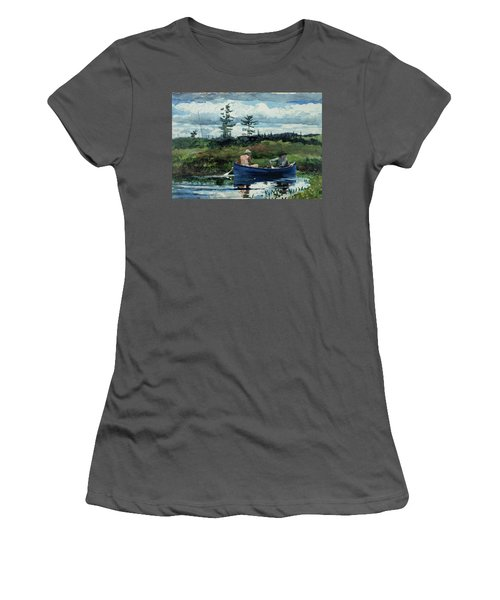 The Blue Boat Women's T-Shirt (Junior Cut) by Winslow Homer