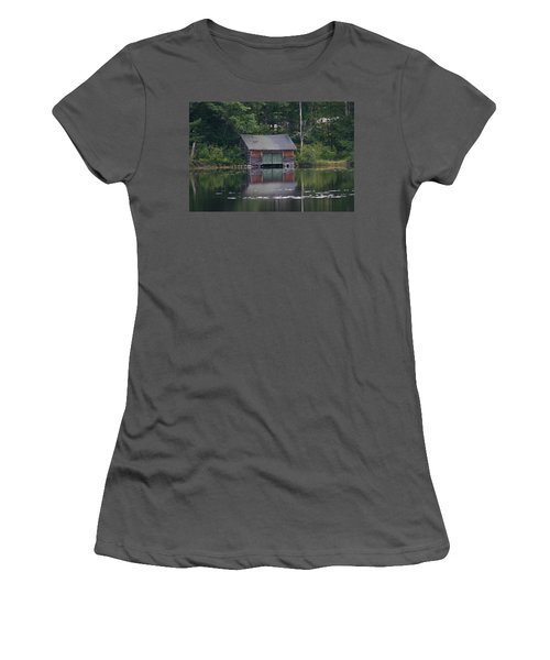 Women's T-Shirt (Junior Cut) featuring the photograph The Boat House On Mt Chocorua Lake by Denyse Duhaime