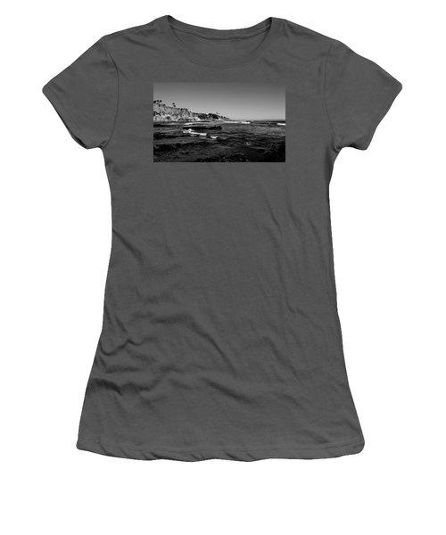 The Cliffs Of Pismo Beach Bw Women's T-Shirt (Junior Cut) by Judy Vincent