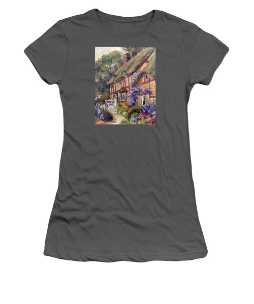 Women's T-Shirt (Junior Cut) featuring the painting The Cottage by Donna Tucker