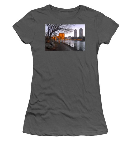 Women's T-Shirt (Junior Cut) featuring the photograph The Gates - Central Park New York - Harlem Meer by Gary Heller