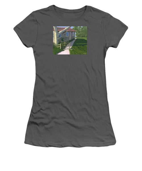 Women's T-Shirt (Junior Cut) featuring the painting The Iron Gate by Gary Giacomelli
