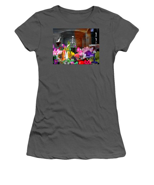 Women's T-Shirt (Junior Cut) featuring the digital art The Long Collage by Cathy Anderson