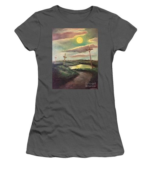 Women's T-Shirt (Junior Cut) featuring the painting The Moon With Three Crosses by Randol Burns