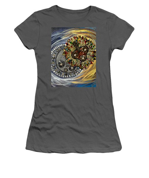 Women's T-Shirt (Junior Cut) featuring the tapestry - textile The Moon's Eclipse by Apanaki Temitayo M