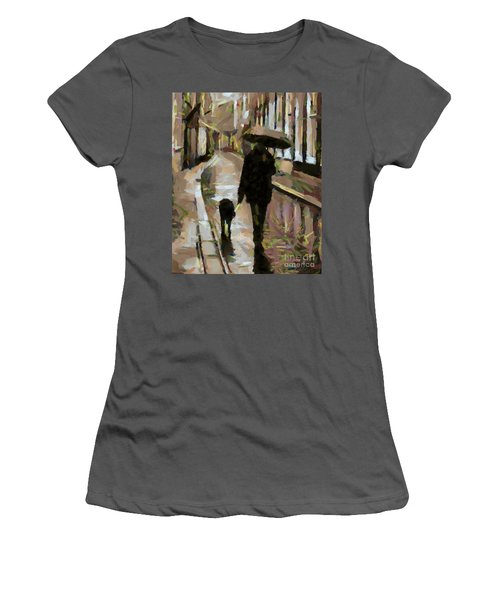 The Rainy Walk Women's T-Shirt (Athletic Fit)