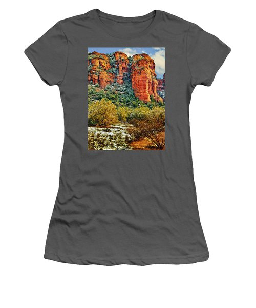 Women's T-Shirt (Junior Cut) featuring the photograph The Secret Mountain Wilderness In Sedona Back Country by Bob and Nadine Johnston