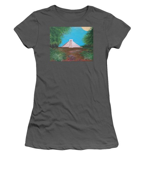 Women's T-Shirt (Junior Cut) featuring the painting The Temple Of Kukulcan by Alys Caviness-Gober