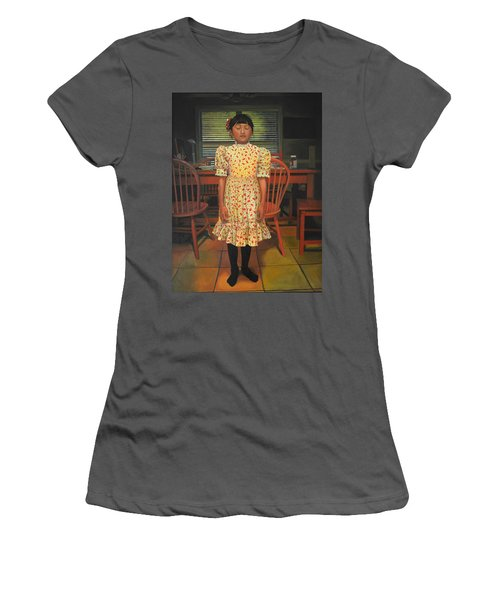 Women's T-Shirt (Junior Cut) featuring the painting The Valentine Dress by Thu Nguyen