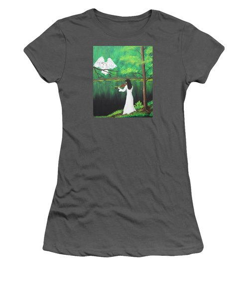 The Violinist By The River   Women's T-Shirt (Junior Cut) by Patricia Olson