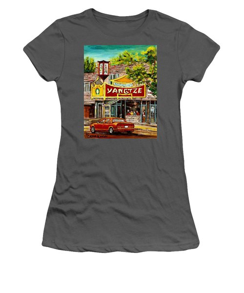 The Yangtze Restaurant On Van Horne Avenue Montreal  Women's T-Shirt (Athletic Fit)