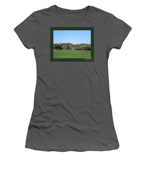 Women's T-Shirt (Junior Cut) featuring the photograph Three Farms In Autumn by Patricia Overmoyer