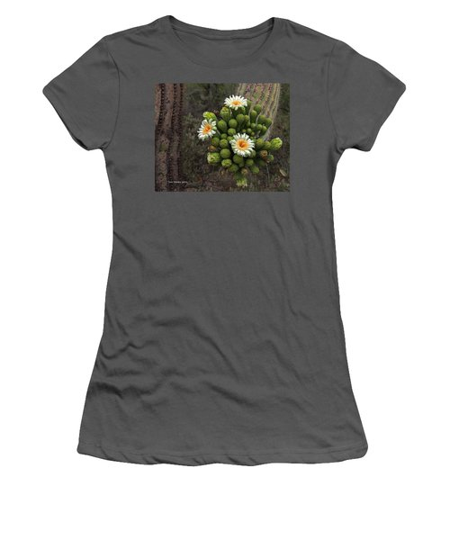 Three Saguaro Blossoms And Many Buds Women's T-Shirt (Junior Cut) by Tom Janca