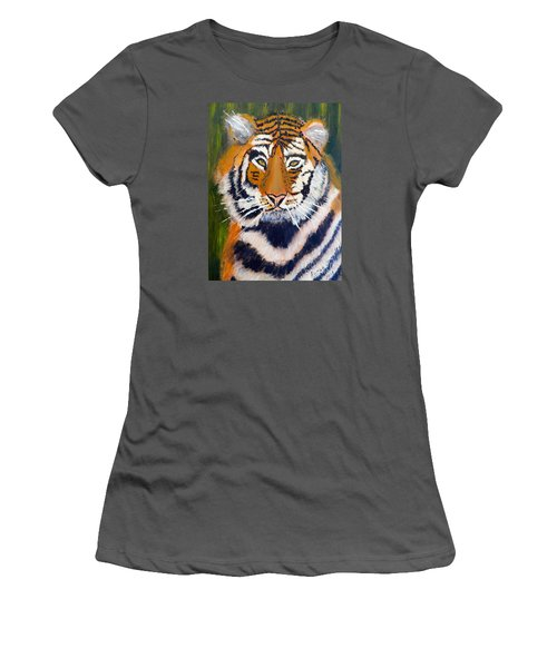 Women's T-Shirt (Junior Cut) featuring the painting Tiger by Pamela  Meredith
