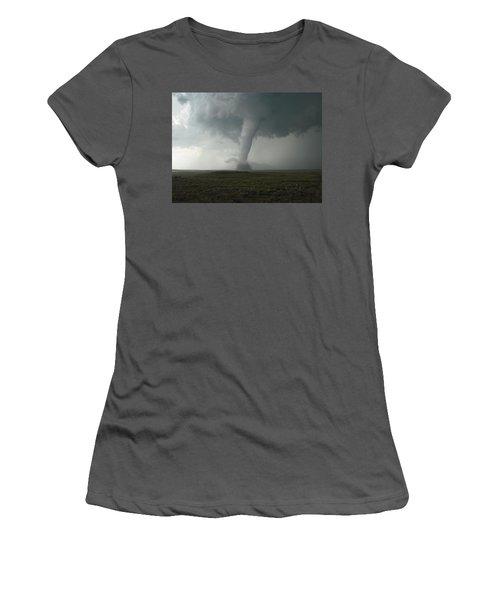 Tornado In The High Plains Women's T-Shirt (Junior Cut) by Ed Sweeney