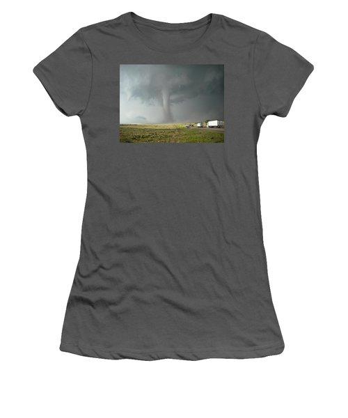 Women's T-Shirt (Junior Cut) featuring the photograph Tornado Truck Stop by Ed Sweeney