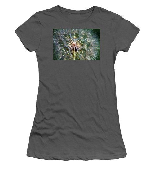 Women's T-Shirt (Junior Cut) featuring the photograph Tragopogon Dubius Yellow Salsify Flower Fruit Seed by Karon Melillo DeVega