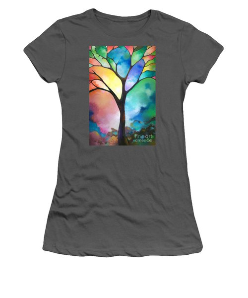 Original Art Abstract Art Acrylic Painting Tree Of Light By Sally Trace Fine Art Women's T-Shirt (Junior Cut) by Sally Trace