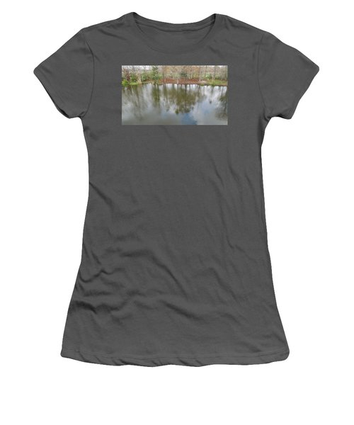 Women's T-Shirt (Junior Cut) featuring the photograph Trees And Water by Ron Davidson