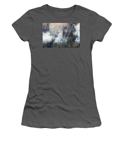 Beaver Fire Trees Swimming In Smoke Women's T-Shirt (Junior Cut) by Bill Gabbert