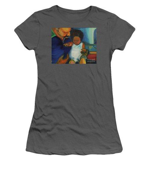 Women's T-Shirt (Junior Cut) featuring the painting Trina Baby by Daun Soden-Greene