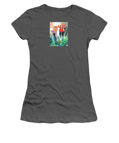 Women's T-Shirt (Junior Cut) featuring the painting Tulips Together by Kathy Braud