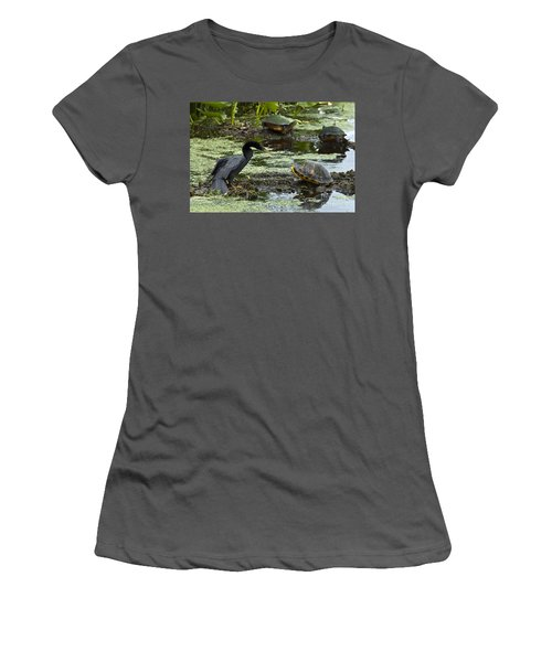 Turtles And Anhinga Women's T-Shirt (Junior Cut) by Mark Newman