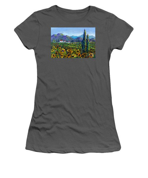 Women's T-Shirt (Junior Cut) featuring the painting Tuscany Sunflowers Miniature by Lou Ann Bagnall