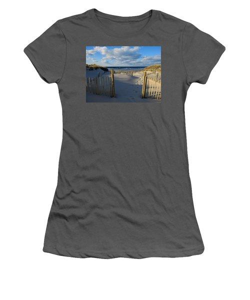 Women's T-Shirt (Junior Cut) featuring the photograph Golden Hour Beach by Dianne Cowen