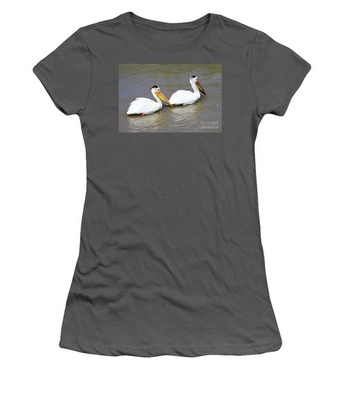 Two Pelicans Women's T-Shirt (Junior Cut) by Alyce Taylor