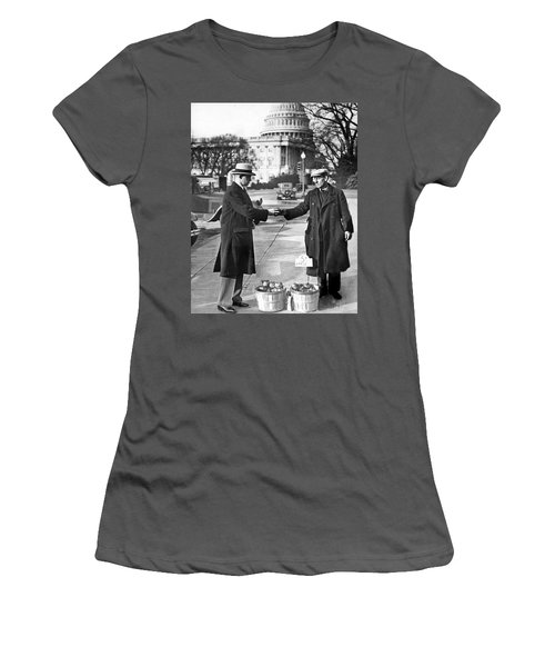 Unemployed Man Sells Apples Women's T-Shirt (Junior Cut) by Underwood Archives