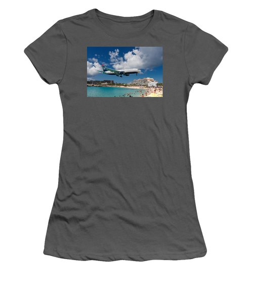U S Airways Landing At St. Maarten Women's T-Shirt (Athletic Fit)