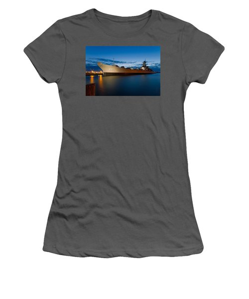 Uss Wisconsin At Sunset Women's T-Shirt (Athletic Fit)