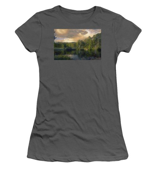 Women's T-Shirt (Junior Cut) featuring the painting Vermont Morning Reflection by Jeff Kolker