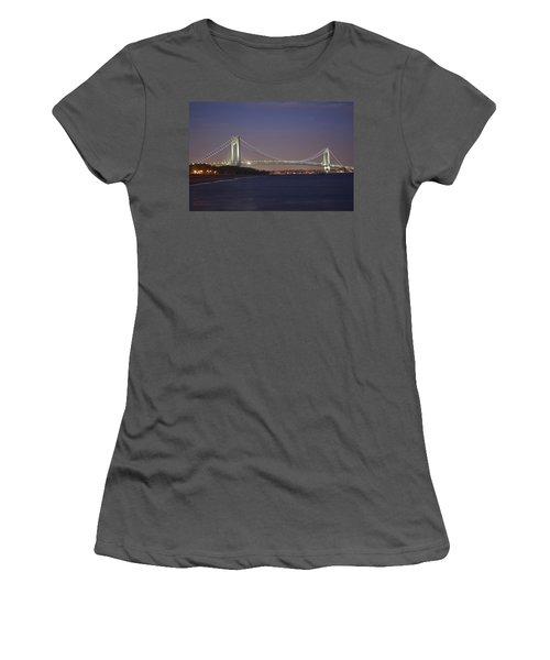 Verrazano Narrows Bridge At Night Women's T-Shirt (Junior Cut) by Kenneth Cole