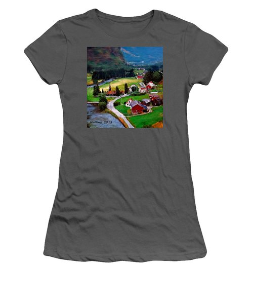 Women's T-Shirt (Junior Cut) featuring the painting Village In The Mountains by Bruce Nutting