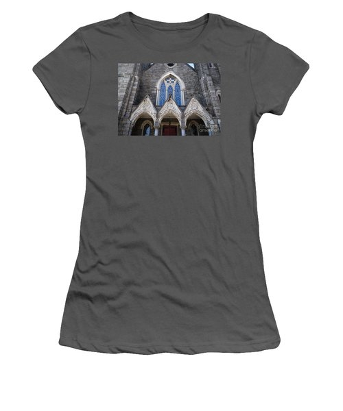 Women's T-Shirt (Junior Cut) featuring the digital art Vintage Block Church Circa 1901 by Melissa Messick