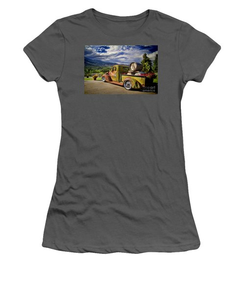 Vintage Chevy Truck At Oliver Twist Winery Women's T-Shirt (Athletic Fit)