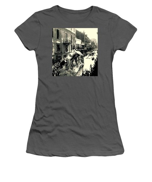 Women's T-Shirt (Junior Cut) featuring the photograph New Orleans Vintage Mardi Gras In The French Quarter Of  Louisiana  1960 by Michael Hoard