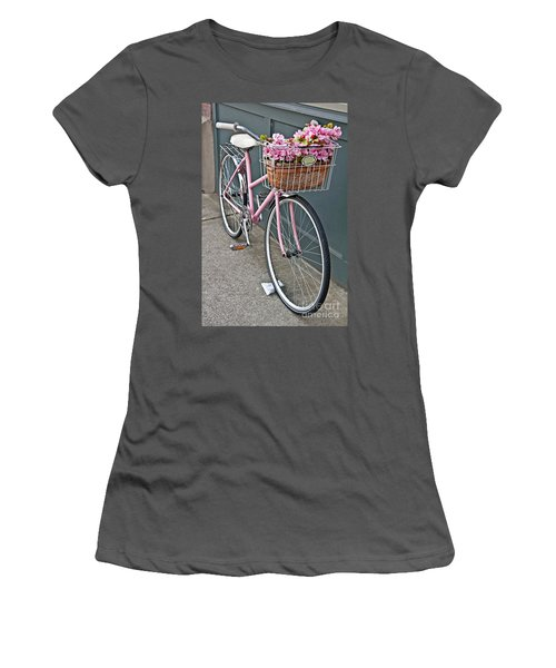 Vintage Pink Bicycle With Pink Flowers Art Prints Women's T-Shirt (Athletic Fit)