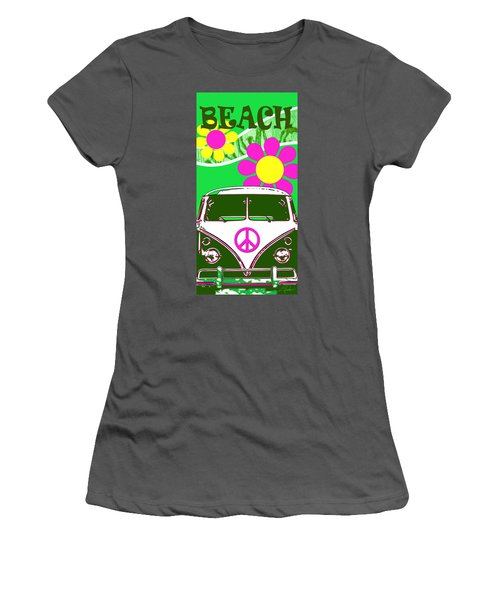 Vw Beach  Green Women's T-Shirt (Athletic Fit)