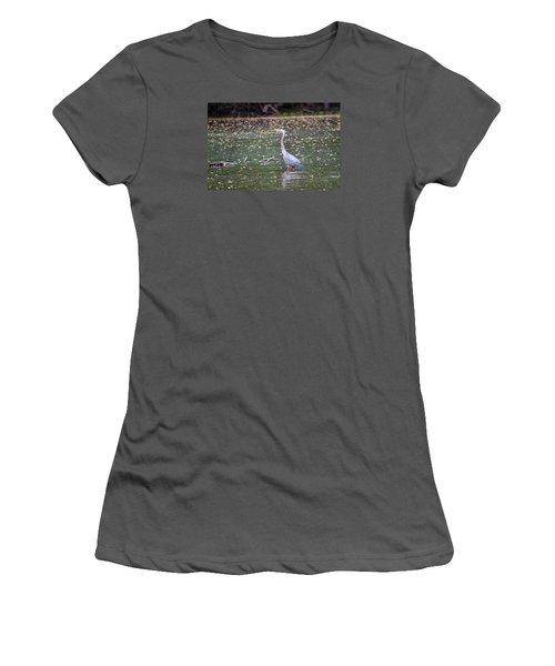 Women's T-Shirt (Junior Cut) featuring the photograph Wading Crane by Susan  McMenamin