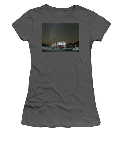 Wagon Train Under Night Sky Women's T-Shirt (Athletic Fit)