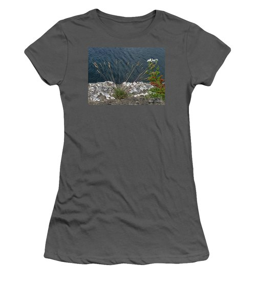 Women's T-Shirt (Junior Cut) featuring the photograph Flowers In Rock by Brenda Brown